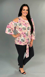 OS-G {Love Request} Pink Cold-Shoulder Top  with Front Tie SALE!!