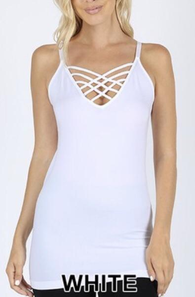 Tank {Cross My Mind} White Tank Top W/ Caged Neck Detail