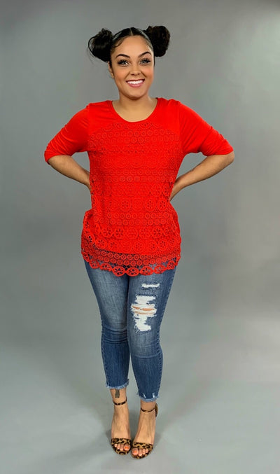 SQ-M {Perfect For You} Red Top with Crochet Lace Overlay