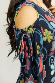 OS-K {My Oh My} Indigo Floral Print Open Shoulder Dress