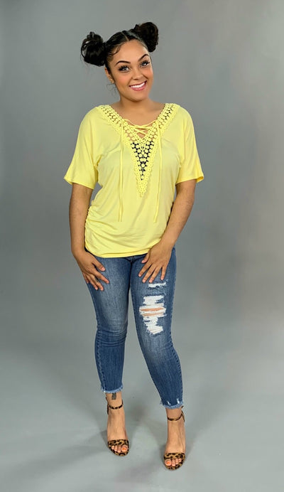 SSS-P {Edge Of Reason} Yellow Top Crochet Detail SALE!!