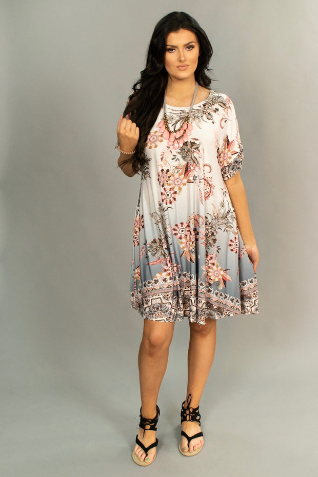 PSS-Z {Treat You Right} Silver Floral Ruffle Border Hem Dress