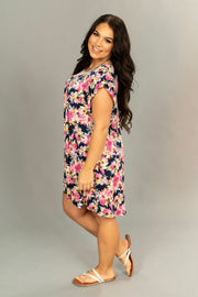 "PSS-P ""In Your Name"" Pink/Navy Floral Ruffle Sleeve Tunic SALE!!"