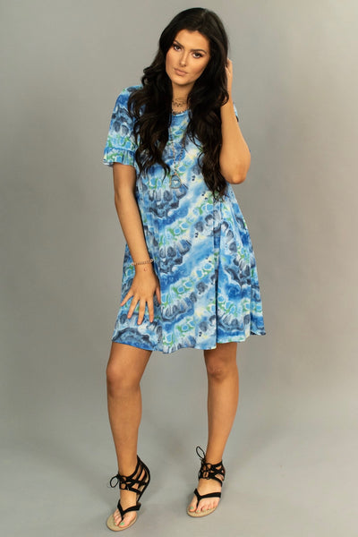 PSS-J {Blue Moon Rising} Gray/Blue Dress with Pockets SALE!!