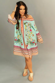 "OS-Y {Shabby Chic} ""UMGEE"" Aqua Floral Border Print Dress"