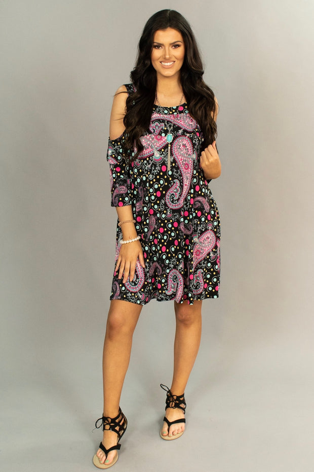 OS-i {Just Breathe} Cold-Shoulder Dress with Festive Print SALE!!