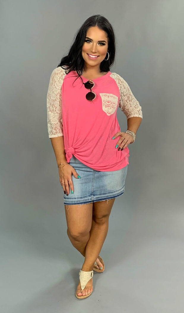 "SD-A ""UMGEE"" Pink Hi-Lo Top with Lace Sleeves & Pocket"