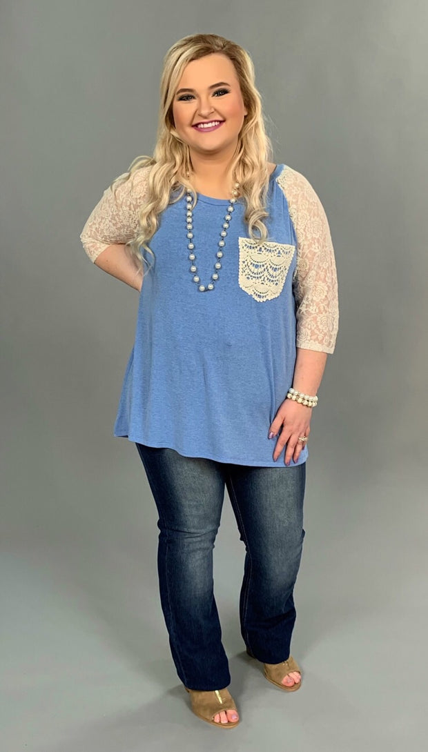 "SD-B ""UMGEE"" Blue Hi-Lo Top with Lace Sleeves & Pocket"