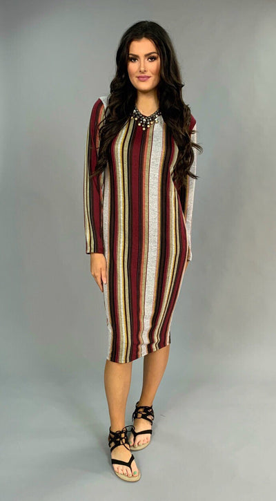 PLS-Z {Mumbo Jumbo} Vertical Striped Bodycon Dress