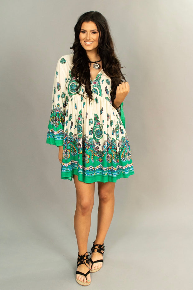 "PQ-Z ""UMGEE"" Ivory/Green Paisley Print Tunic or Dress"