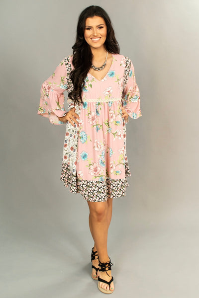 "PQ-L {Young & Beautiful} ""UMGEE"" Pink floral Dress"