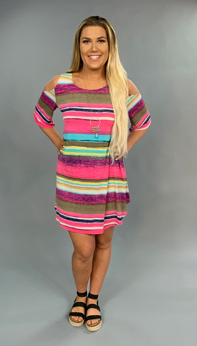 OS-K {Girls Like Us} Pink Striped Cold Shoulder Dress