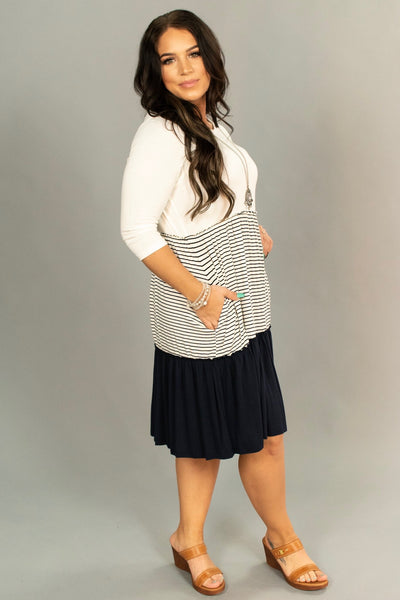 CP-C {Class Act} Navy 3/4 Sleeve Dress with Contrast Layers SALE!!