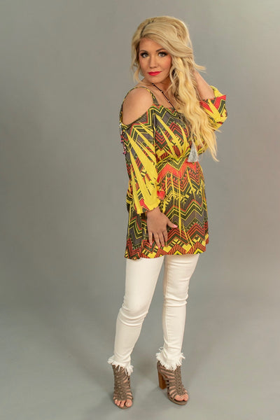 OS-F {Back At It} Yellow/Chevron Cold Shoulder Top