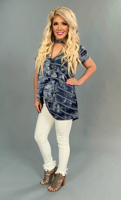 PSS-Z {Country Girl Blues} Navy Tie Dye Mock Neck Tunic