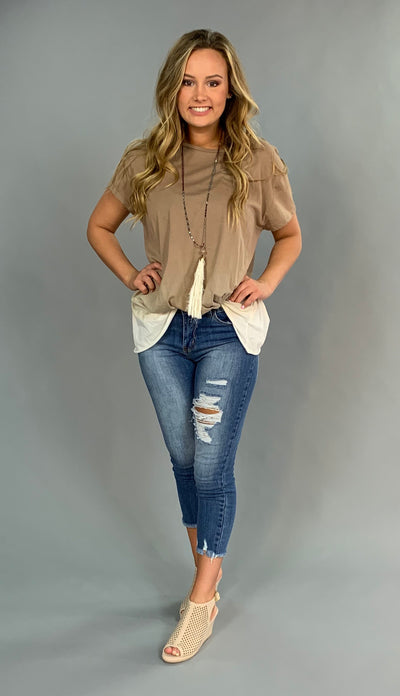 "PSS-F ""UMGEE"" Mocha/Ivory Ombre' Knotted Hem Top"
