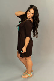 SSS-X {Feeling My Best} Brown Babydoll Dress 2/3 Sleeves