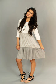 CP-F {Class Act} Gray 3/4 Sleeve Dress with Contrast Layers