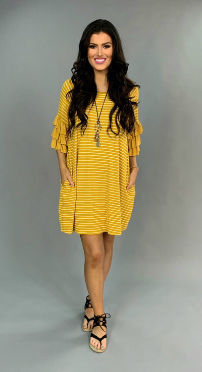 "PQ-N {By Design} ""UMGEE"" Striped Dress with Ruffle Sleeves"