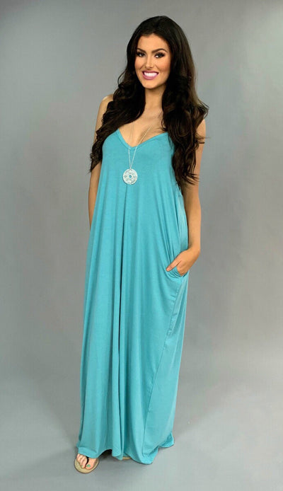 LD-Y {The New Yorker} Turquoise V-Neck Maxi Dress