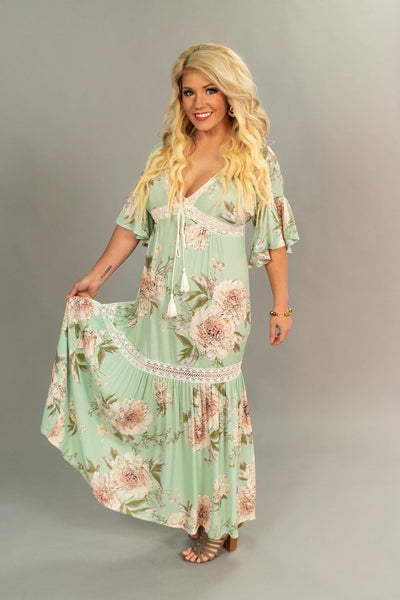 "LD-A {Spring Breeze} ""UMGEE"" Mint Floral Dress with Crochet Detail"