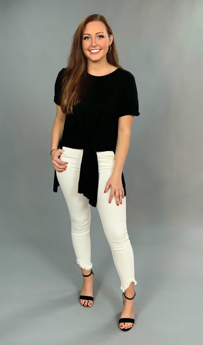 SSS-J {Strike A Pose} Solid Black Hi-Lo Top with Front Tie