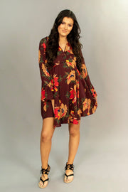 "PLS-M ""UMGEE"" Wine Floral with Collar & Bell Sleeves Dress"
