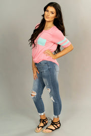 SSS-A {Keep It Real} Pink With Jersey Stripe Sleeves Tunic