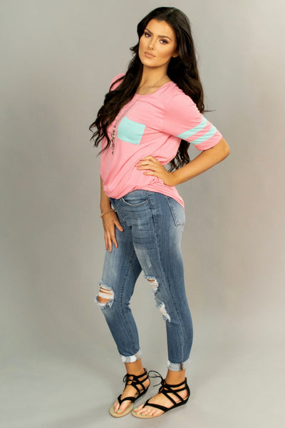 SSS-A {Keep It Real} Pink With Jersey Stripe Sleeves Tunic SALE!!