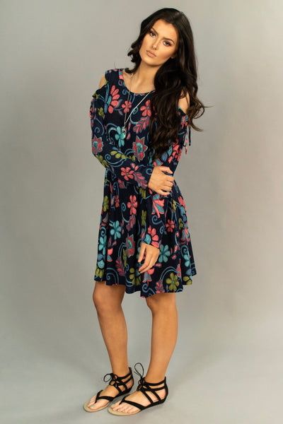 OS-K {My Oh My} Indigo Floral Print Open Shoulder Dress SALE!!