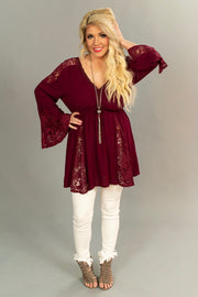 SLS-H {Let's Join In} Burgundy Top with Lace & Crochet Detail