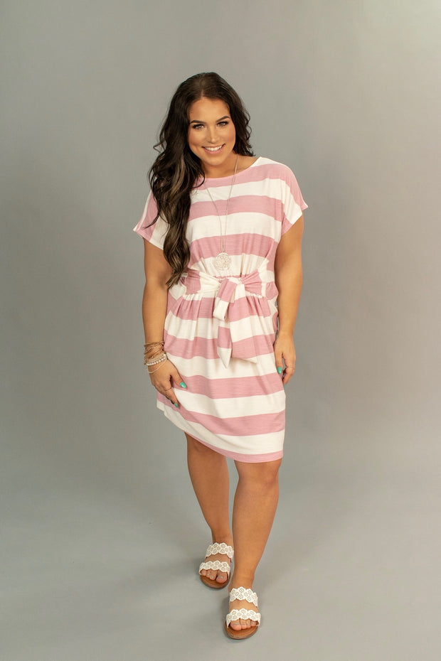PSS-Q {Here As In Heaven} Pink/Ivory Stripe Dress