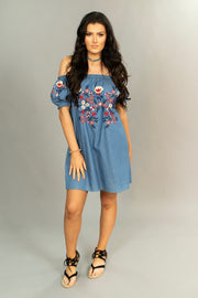 OS- N {Get This Right} Denim Dress with Embroidery