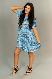 PSS-J {Blue Moon Rising} Gray/Blue Dress with Pockets