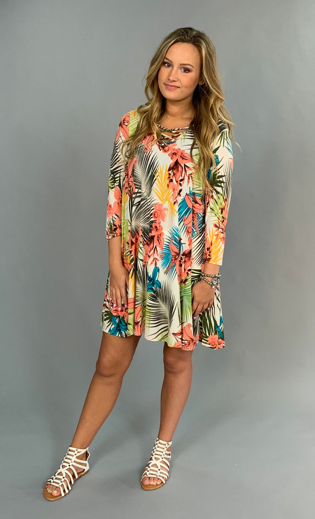 PQ-Y/A {Move Forward} Tropical Print Dress w/ Pockets