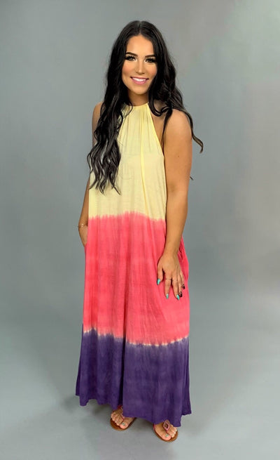 LD-A {Caribbean Vacation} Gradient Dye Halter Dress