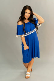 OS-R {Breezing Through} Blue Dress with Tassel Detail