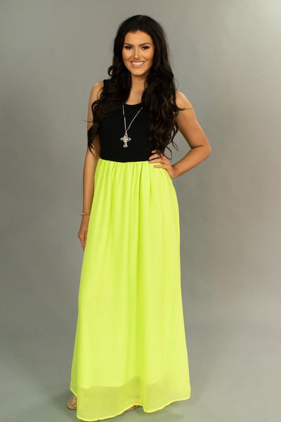 LD-S {Glam It Up} Black/Neon Lime Maxi Dress with Lining SALE!!