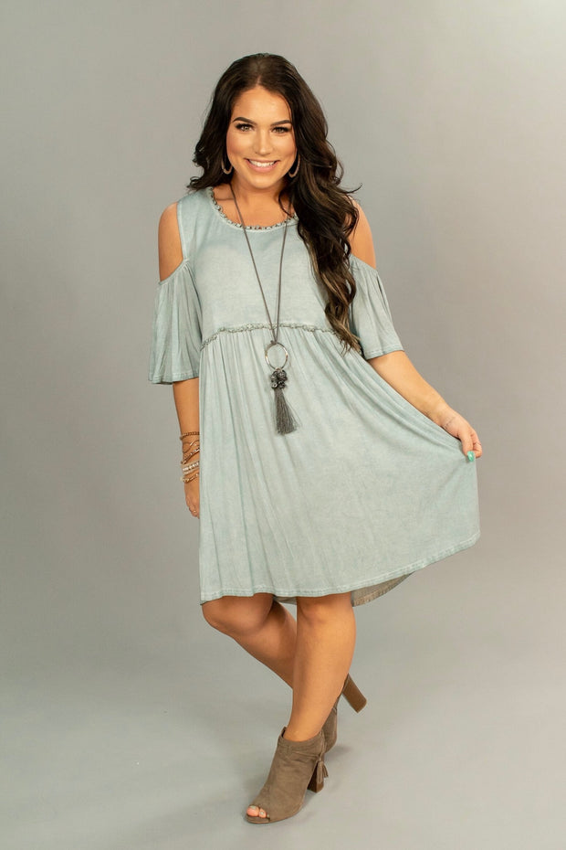 "OS-V {Just Believe} ""UMGEE"" Silver Open Sleeve Tunic Dress"