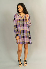"PLS-N ""UMGEE"" Purple/Mustard Plaid V-Neck Collar Dress"