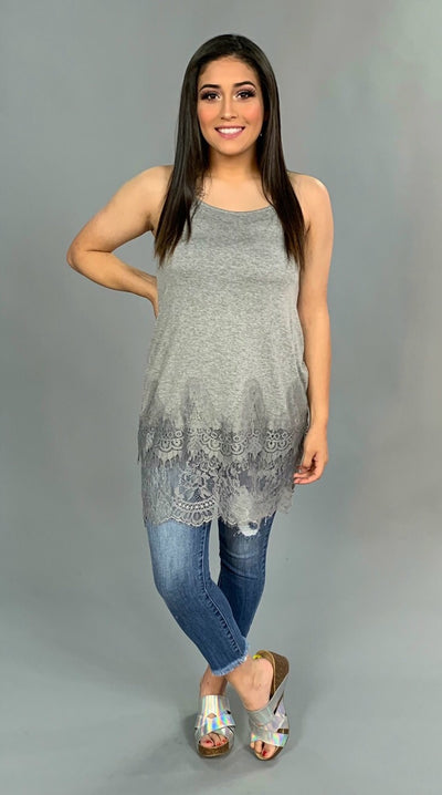 SV-A {Got It Made} Gray Spaghetti Strap Top Extender with Lace SALE!!