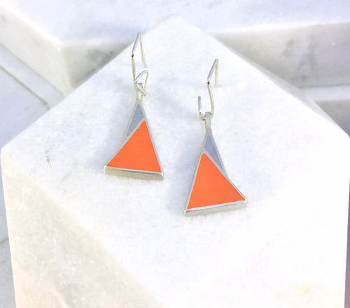 Reversible - Sterling silver orange and blue drop earrings