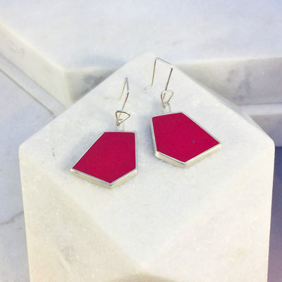 Reversible - Silver & Resin earrings - Red and turquoise