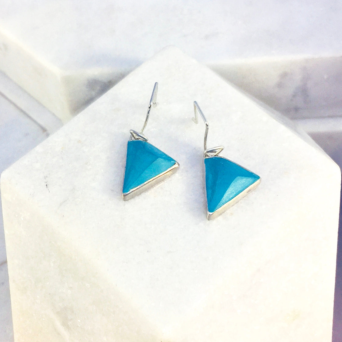 Reversible - Sterling silver blue & turquoise drop earrings