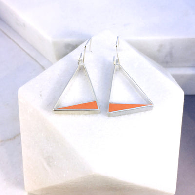 Reversible - Frame- Silver & Resin earrings - Orange and Grey