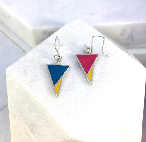Reversible - Sterling silver red & blue drop earrings