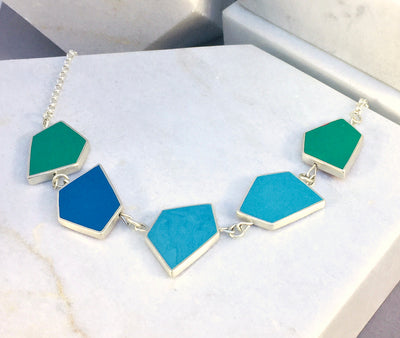 Reversible Fragment necklace - silver & resin - 32 colour combinations - cool colours