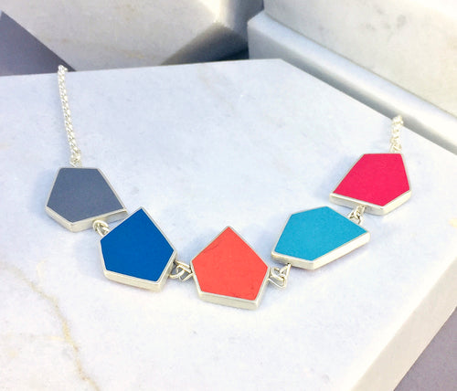 Reversible Fragment necklace - silver & resin - 32 colour combinations - warm and cool colours