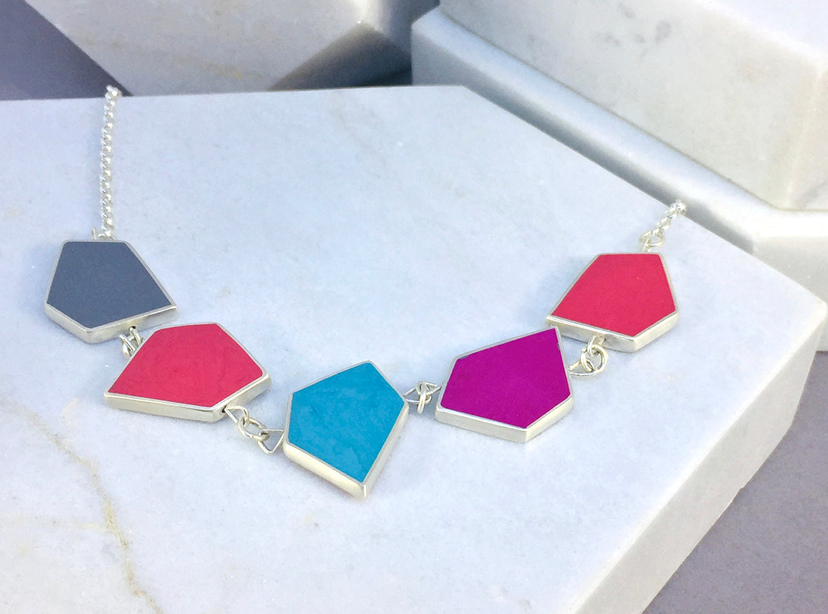 Reversible Fragment necklace - silver & resin - 32 colour combinations - warm colours