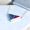 Reversible - Geometric silver and resin pendent - with snake chain warm and cool options